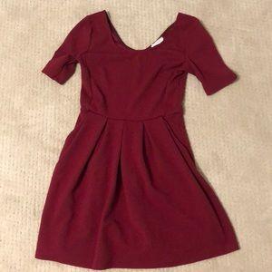 Maroon shirt sleeve dress